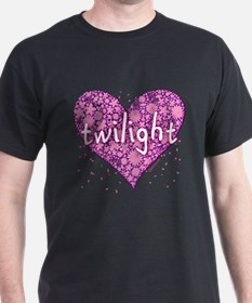 Twilight Retro Purple Heart with Flowers T-Shirt