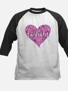 Twilight Retro Purple Heart with Flowers Tee