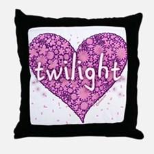 Twilight Retro Purple Heart with Flowers Throw Pil