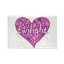 Twilight Retro Purple Heart with Flowers Rectangle