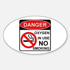 Oxygen in Use Oval Sticker (10 pk)