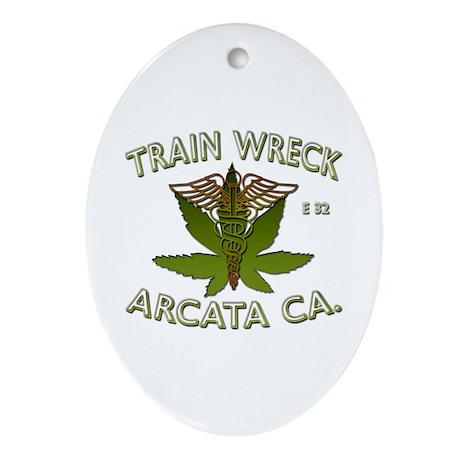 train wreck Oval Ornament