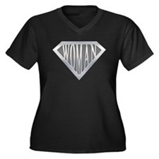 Super Woman Women's Plus Size V-Neck Dark T-Shirt