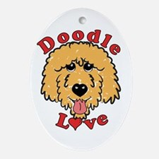 Cute Aussiedoodles Oval Ornament