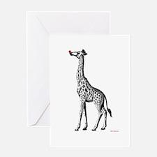 Red Nosed Giraffe Greeting Card