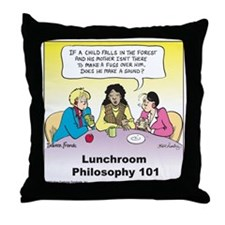 Lunchroom Philosophy Throw Pillow