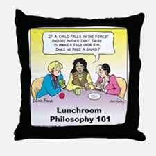Lunchroom Philosophy Throw Pillow