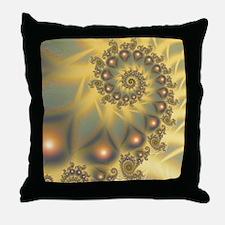 Golden Fiddle Fractal Throw Pillow