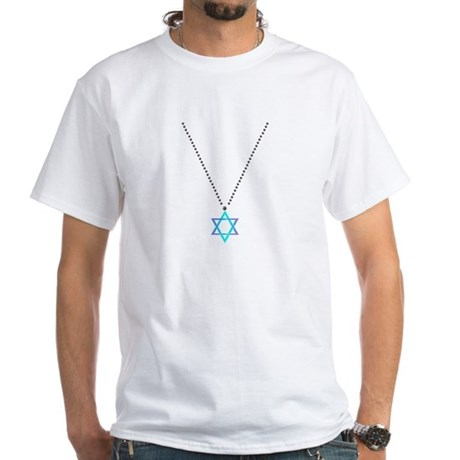 Star Of David Necklace White T-Shirt
