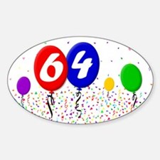 64th Birthday Oval Decal