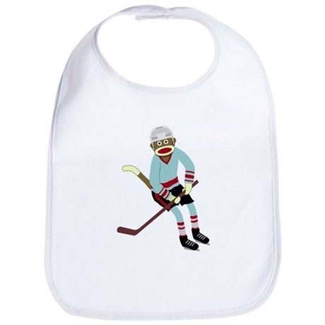 Sock Monkey Ice Hockey Player Baby Bib
