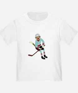 Sock Monkey Ice Hockey Player T