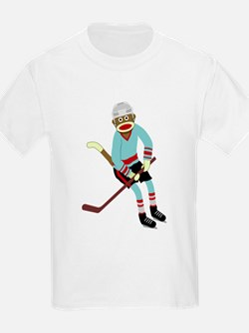 Sock Monkey Ice Hockey Player T-Shirt