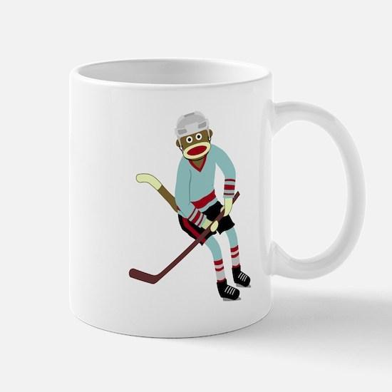 Sock Monkey Ice Hockey Player Coffee Mug