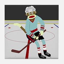 Sock Monkey Ice Hockey Player Tile Coaster