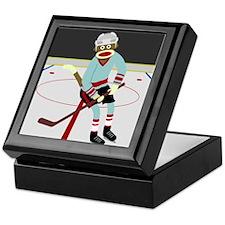 Sock Monkey Ice Hockey Player Keepsake Box