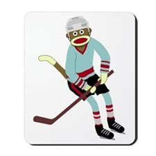 Sock Monkey Ice Hockey Player Mousepad