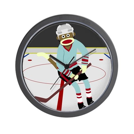 Sock Monkey Ice Hockey Player Wall Clock