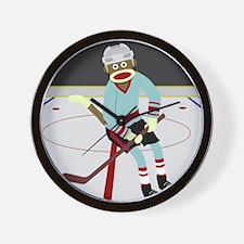 Sock Monkey Ice Hockey Player Wall Clock