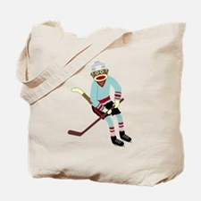 Sock Monkey Ice Hockey Player Tote Bag