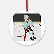 Sock Monkey Ice Hockey Player Ornament (Round)