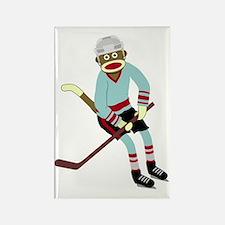 Sock Monkey Ice Hockey Player Rectangle Magnet