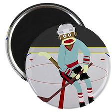 Sock Monkey Ice Hockey Player Magnet