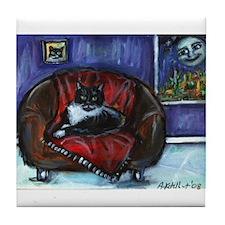 Cute Tuxedo cat Tile Coaster