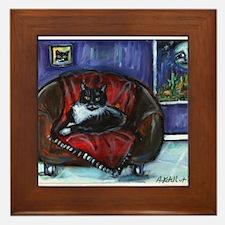Cute Tuxedo cat Framed Tile