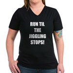 Jiggle Stopper Women's V-Neck Dark T-Shirt