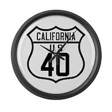 Route 40 Shield - California Large Wall Clock