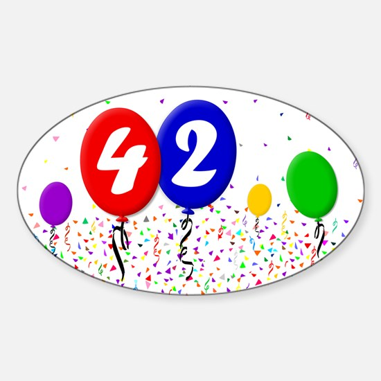 42nd Birthday Oval Decal