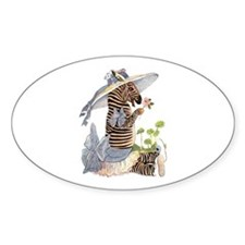 Playful Zebra Oval Decal