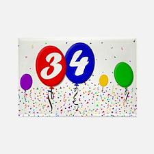 34th Birthday Rectangle Magnet