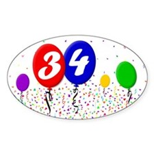 34th Birthday Oval Decal