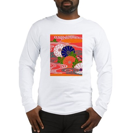 JapaneseTextile Chrysanthemum Long Sleeve T-Shirt