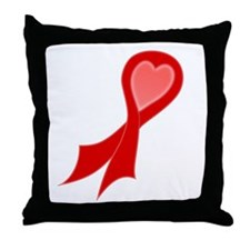 Red AIDS Ribbon with a Heart Throw Pillow