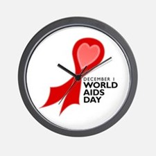 Worlds AIDS Day Red Ribbon Wall Clock