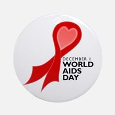 World AIDS Day Red Ribbon Round Ornament