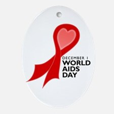 World AIDS Day Red Ribbon Oval Ornament