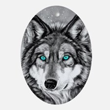 Painted Wolf Grayscale Oval Ornament