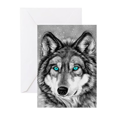 Painted Wolf Grayscale Greeting Cards (Pk of 20)