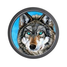 Painted Wolf Wall Clock