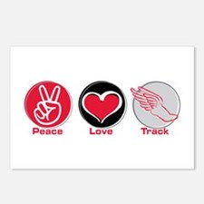 Peace Love Track Red Postcards (Package of 8)