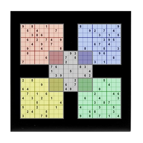 Black Sudoku Tile Coaster