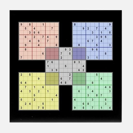 Black Sudoku Tile Coaster