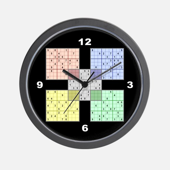 Black Sudoku Wall Clock