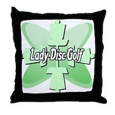 Lady Disc Golf Mint Throw Pillow