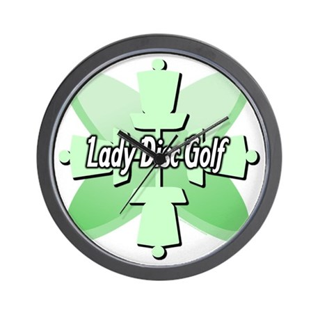 Lady Disc Golf Mint Wall Clock