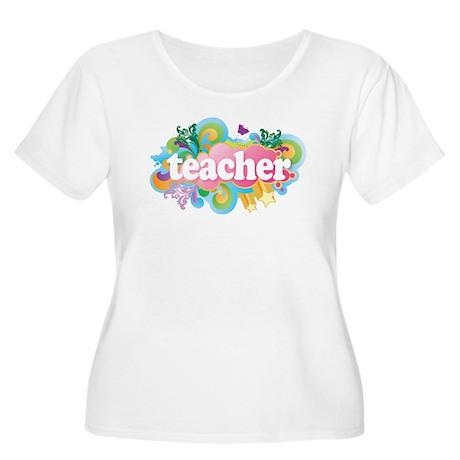Cute Retro Teacher Women's Plus Size Scoop Neck T-